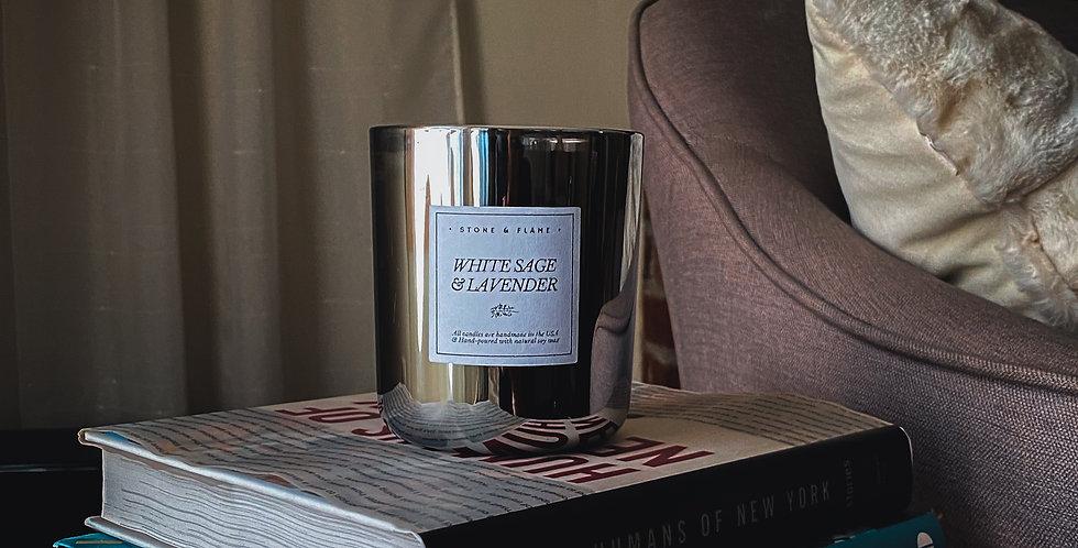 White Sage & Lavender - Gunmetal Soy Wax Candle - 13oz