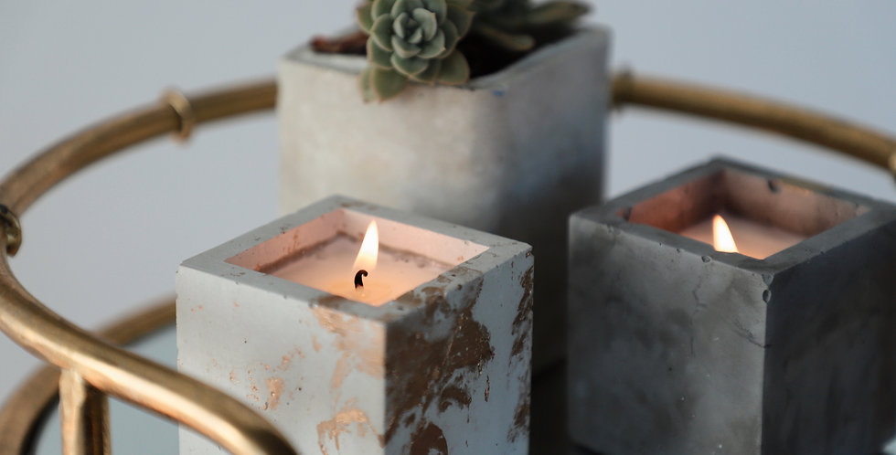 White Sage & Lavender - Golden Square Concrete Candle