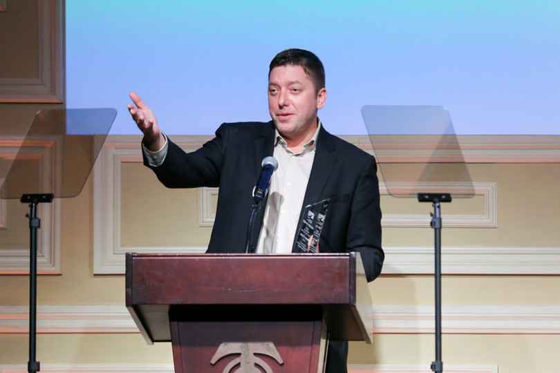 David Doan receiving the 2019 Heller Award for Northeast Youth Theatrical Agent of the Year