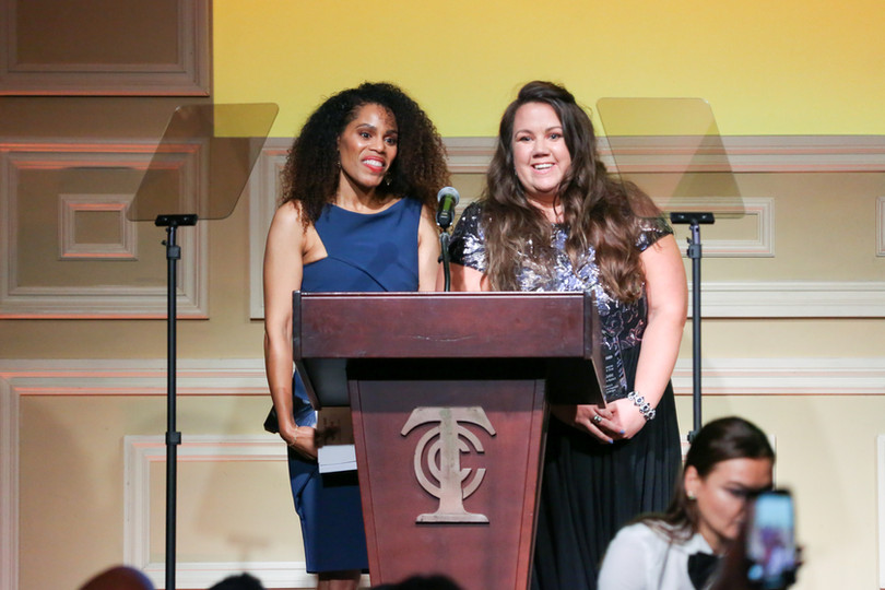 Candace Stewart & Julie Gudz receiving the 2019 Heller Award for Voiceover Agent of the Year
