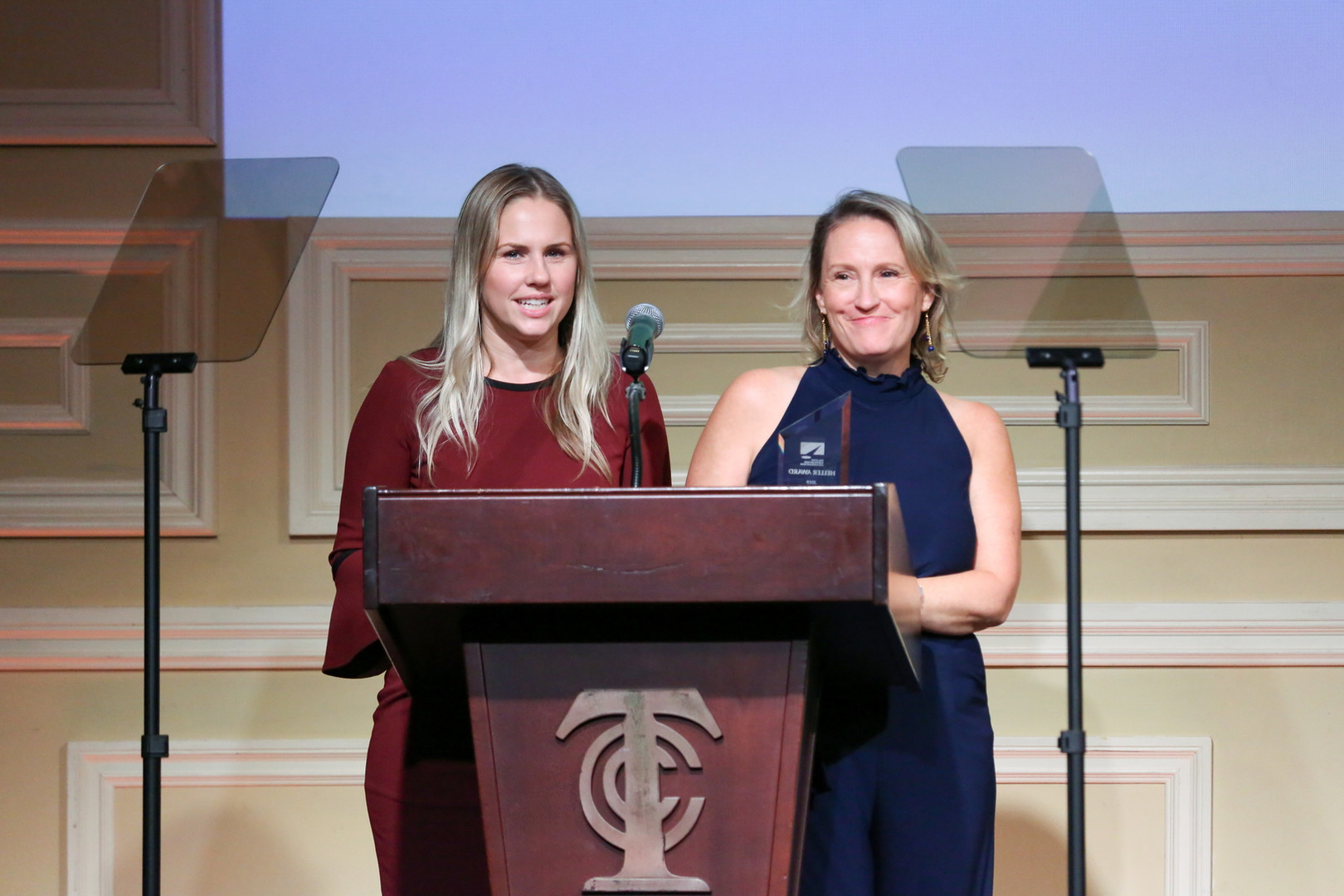 Krisha Bullock & Jamie Snow receiving the 2019 Heller Award for Youth Television Casting Director of the Year