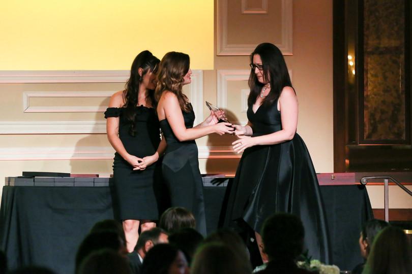 Ivy Isenberg receiving the 2019 Heller Award for Video Game Casting Director