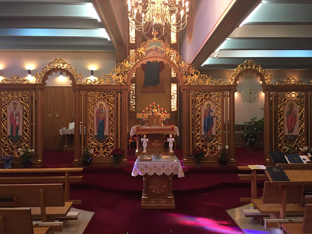Wide open Royal and Deacons' Doors at Protection of the Blessed Virgin Mary Ukrainian Catholic Church
