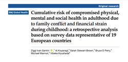 Cumulative risk of compromised physical, mental and social health in adulthood due to family conflic