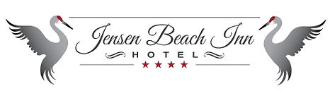 Jensen Beach Inn Hotel Logo with sandhill cranes at beginning and end of text