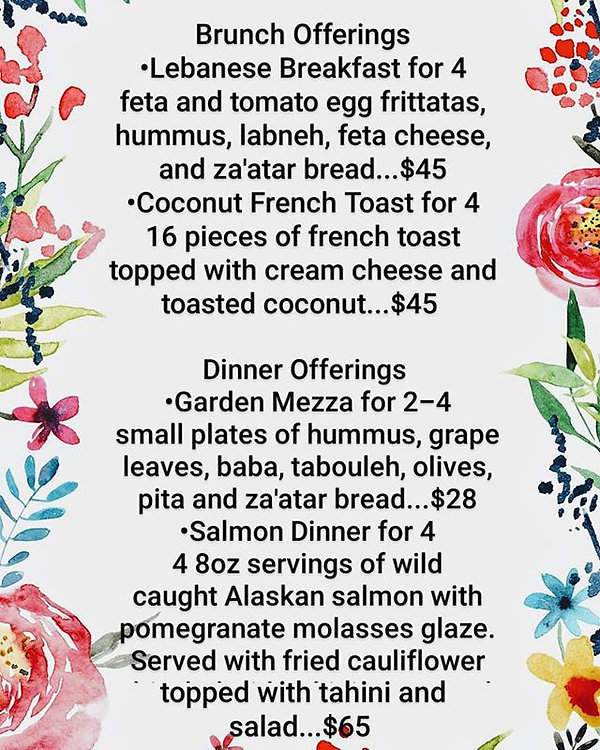 Here's our Mother's Day menu!! It's a di
