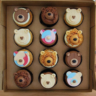 Teddy bear cupcakes for a Build-a-bear p