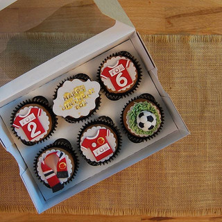 Football themed chocolate fudge cupcakes