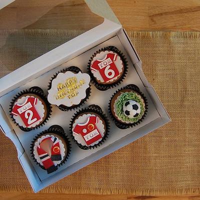 Football themed chocolate fudge cupcakes