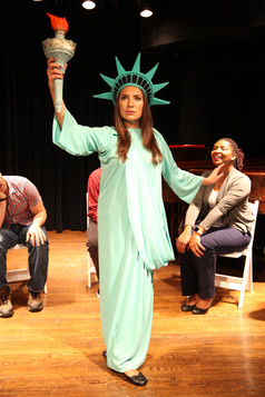 Emily Goglia as Statue of Liberty thinki
