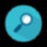 Un rond bleu à l'intérieur duquel on trouve une loupe bleue