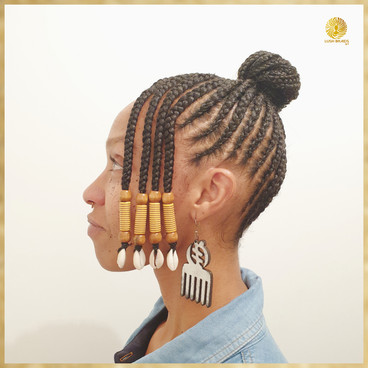 tribal updo with beads and cowries