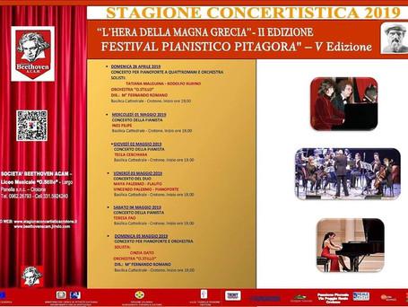 """V Edizione del Festival Pianistico """"Pitagora"""" 2019 - Italy"""