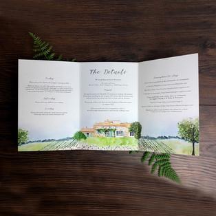 Bespoke wedding invitation Judy and Mac