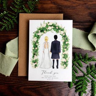 Bespoke wedding stationery Kirsten Thank You card