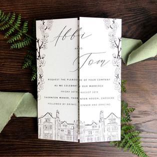 Bespoke wedding invitation Abbi Shepherd