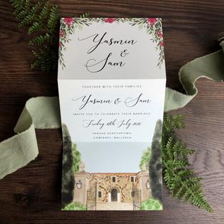 Bespoke wedding invitation Yasmin and Sam