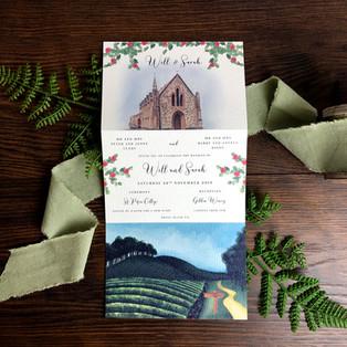 Bespoke wedding invitation Will and Sarah