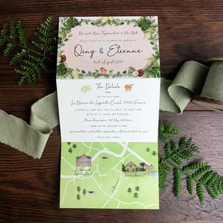 Bespoke wedding invitation Qing and Etie