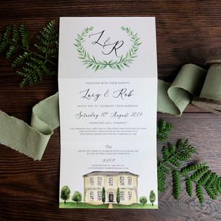 Bespoke wedding invitation Lucy and Rob
