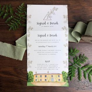 Bespoke wedding invitation Sigrid and Derek