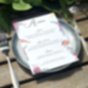 Bespoke wedding stationery menu