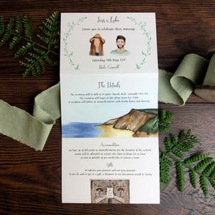 Bespoke wedding invitation beach couple