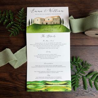 Bespoke wedding invitation Emma and Will