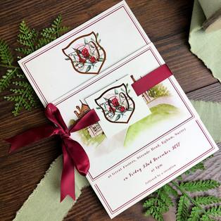 Bespoke wedding stationery ribbon tags