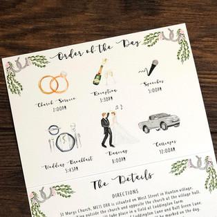 Bespoke wedding stationery Order of the Day