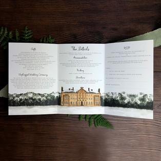 Bespoke wedding invitation Philippa inside