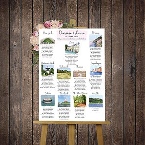 Bespoke wedding stationery table plan
