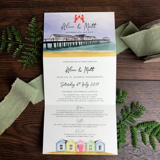 Bespoke wedding invitation Alice and Matt