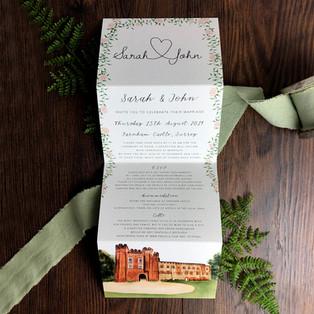 Bespoke wedding invitation Sarah and John