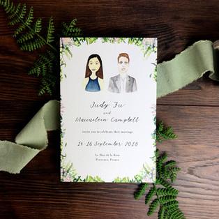 Bespoke wedding invitation wedding couple illustration Judy and Mac