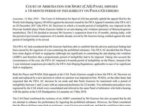 El TAS señala que Paolo Guerrero no tuvo intención de doparse