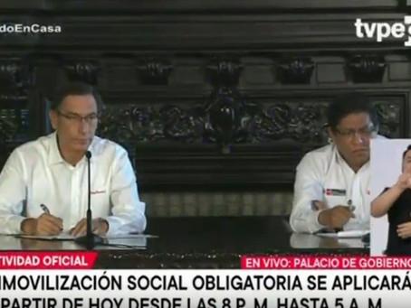 INAMOVILIZACIÓN SOCIAL OBLIGATORIA DE 8.00 P.M. A 5.00 A.M. EN TODO EL PAÍS