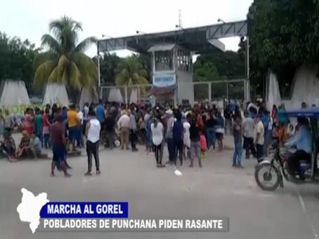 MARCHA AL GOREL POBLADORES DE PUNCHANA PIDEN REINICIO DE TRABAJOS DEL LEVANTAMIENTO DE RASANTE