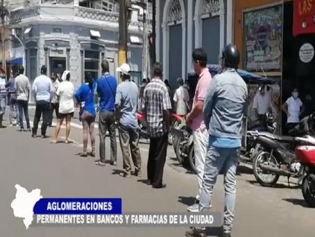 AGLOMERACIONES PERMANENTES EN BANCOS Y FARMACIAS DE LA CIUDAD