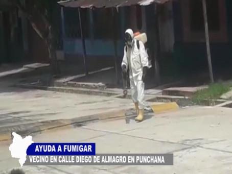VECINO AYUDA EN FUMIGACIÓN DE CALLE DIEGO DE ALMAGRO EN PUNCHANA