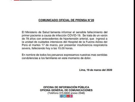 MINSA confirma primer fallecido en el País por Coronavirus COVID-19