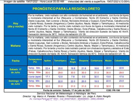 EL LORETANO EDICIÓN CENTRAL Reporte Hidrológico y Pronostico del tiempo.