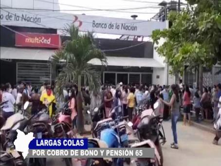 LARGAS COLAS POR PAGO DE BONO Y PENSIÓN 65 EN LAS AFUERAS DEL BANCO DE LA NACIÓN