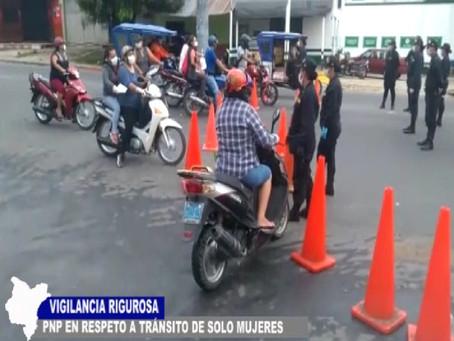 VIGILANCIA RIGUROSA DE LA PNP EN RESPETO A TRÁNSITO DE SOLO MUJERES