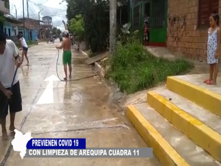 BUENOS VECINOS PREVIENEN COVID 19  CON LIMPIEZA EN AREQUIPA CUADRA 11