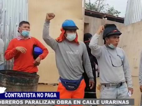PROTESTAN PARALIZANDO OBRA DE CALLE URARINAS