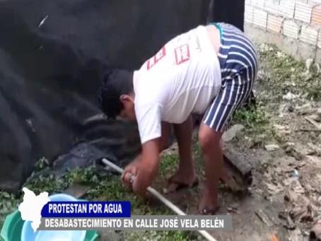 PROTESTAN POR DESABASTECIMIENTO DE AGUA EN EL AA.HH. AMISTAD DEL DISTRITO DE BELÉN