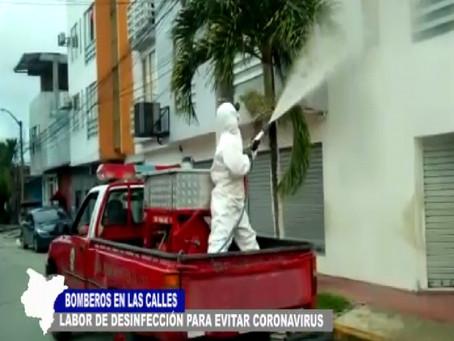 BOMBEROS EN LAS CALLES Y ALGUNAS ENTIDADES EN LABOR DE DESINFECCIÓN PARA EVITAR CORONAVIRUS