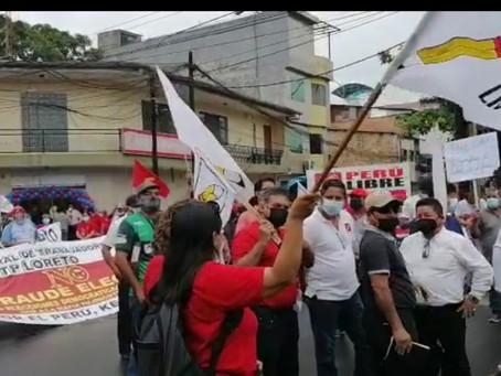 SIMPATIZANTES DE PERÚ LIBRE MARCHAN PIDIENDO EVITAR UN FRAUDE ELECTORAL