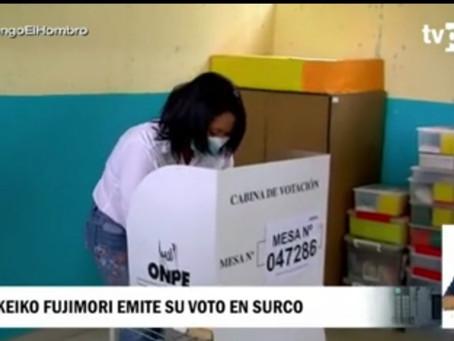 Momento de votación de candidatos Keiko Fujimori y Pedro Castillo
